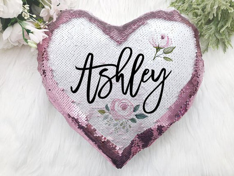 Personalized Heart Shaped Sequin Pillow