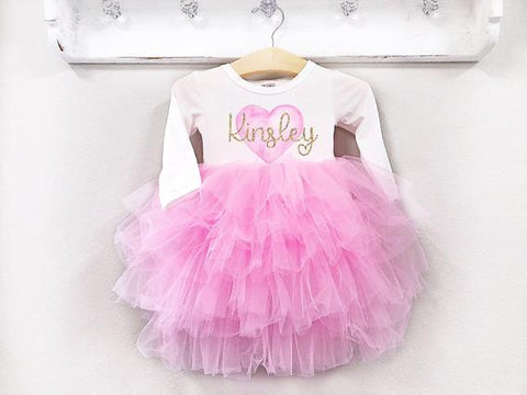 Girl's Personalized Heart Gold Name Dress