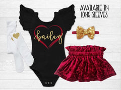 Girl's Personalized Heart Valentine's Day Outfit