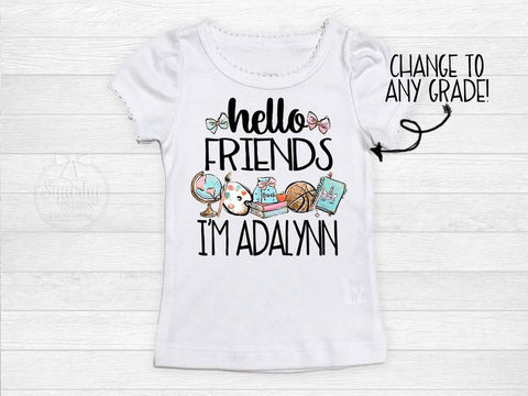 Girl's Personalized Hello Friends Back To School Top