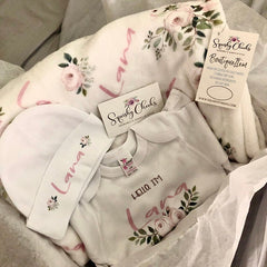 New Baby Girl Personalized Floral Gift Set