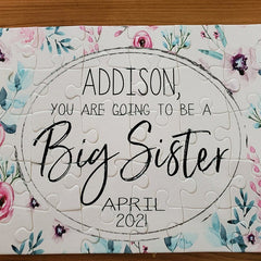Girl's Personalized Big Sister Announcement Puzzle