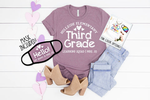 Back To School Teacher Mask and Shirt 2 Piece Set