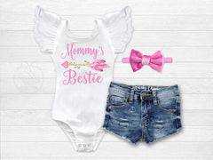 Girl's Mommy's Bestie Leotard Outfit