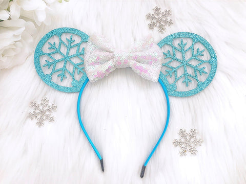 Mouse Ear Frozen Sequin Bow Headband
