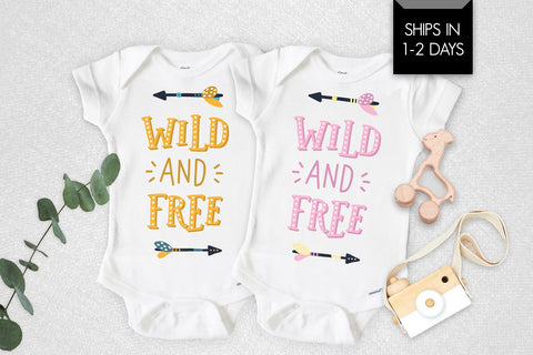 Wild And Free Pink Or Yellow Baby Onesie®