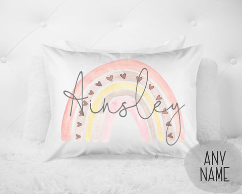 Girl's Personalized Rainbow Name Pillow Case