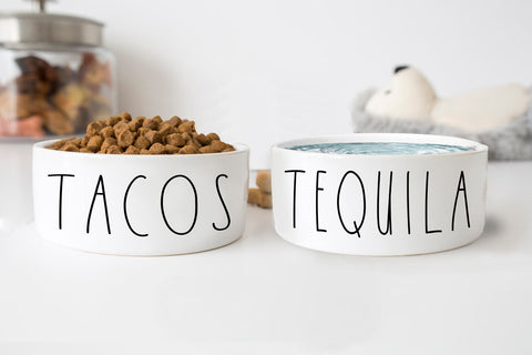 Tacos And Tequila Funny White Ceramic Pet Food Bowls Set