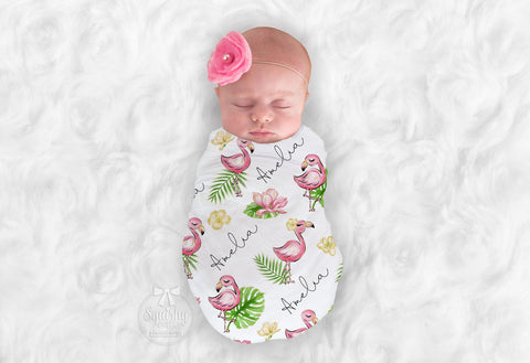 Personalized Flamingo Nursery Swaddle Blanket