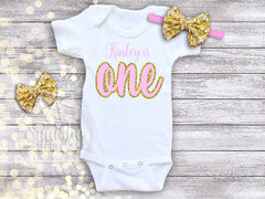 Girl's Personalized Pink and Gold 1st Birthday Outfit