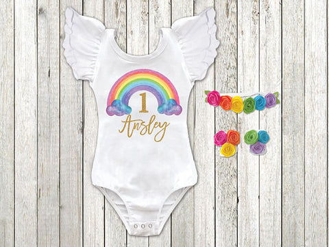 Girl's Rainbow Personalized Birthday Top