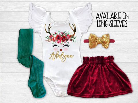 Girl's Personalized Reindeer Christmas Outfit