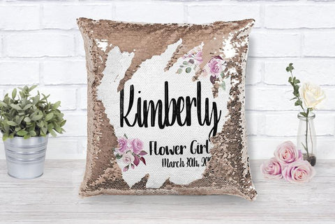 Flower Girl Proposal Personalized Sequin Pillow