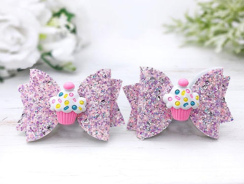 Girl's Cupcake Glitter Hair Bows