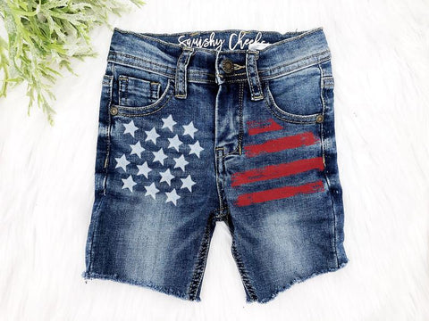 Boy's Patriotic Distressed Denim Shorts