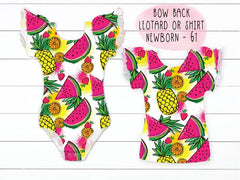 Fruitti Tropical Fruit Print Bow Back Flutter Sleeve Leotard Or Shirt