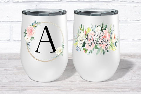 Personalized Floral Monogram Wine Tumblers