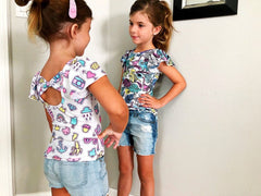 Pastel Summer Fun Print Bow Back Flutter Sleeve Leotard Or Shirt