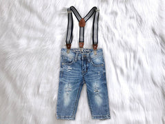 Distressed Denim Suspender Jeans or Shorts