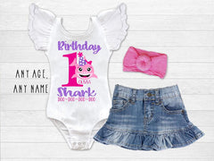 Girl's Personalized Baby Birthday Shark Top
