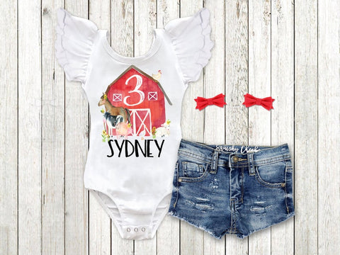 Girl's Farm Animal Birthday Outfit