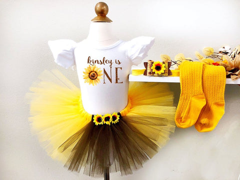 Girl's Personalized Sunflower First Birthday Tutu Outfit