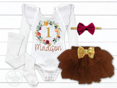 Girl's Fall Theme Birthday Outfit