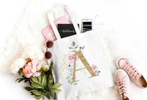 Gold Floral Monogram Tote Bag