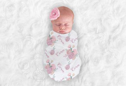 Girl's Personalized Pink Floral Swaddle Blanket