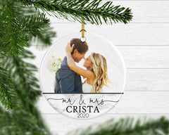 Custom Photo Mr. & Mrs. Newlywed Keepsake Ornament