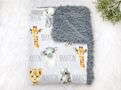 Personalized Safari Animals Jungle Swaddle Blanket