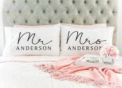 Mr. & Mrs. Personalized Last Name Pillow Case