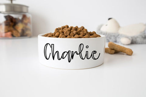 "Custom Pet Food Bowl Ceramic 6"" or 7"" White"