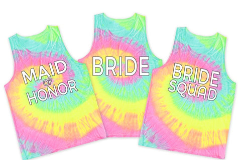 Bride Or Bride Squad Bachelorette Tie Dye Tanks