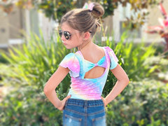 Pastel Rainbow Print Bow Back Flutter Sleeve Leotard Or Shirt