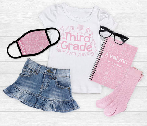 Girl's Back to School Mask Outfit Set