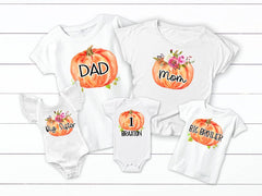 Pumpkin Birthday Matching Family Tops