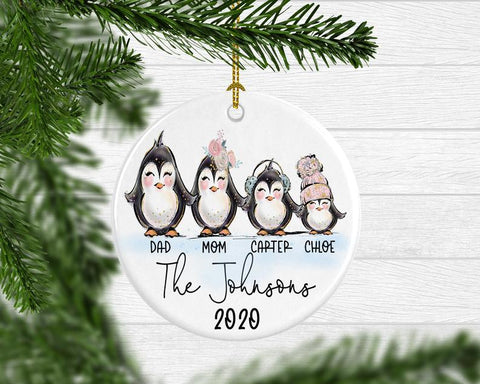 Penguin Yearly Family Christmas Ornament