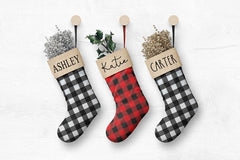 Personalized Christmas Plaid Stocking