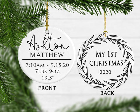 Baby Boy 1st Christmas Birth Stats Ornament