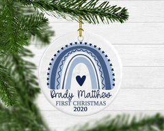 Boy Blue Rainbow Baby Christmas Ornament