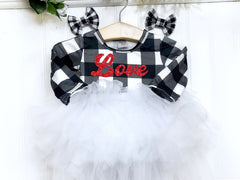 Girl's Personalized Buffalo Check Fluffy Valentine Dress