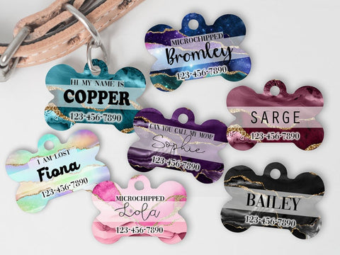 Personalized Agate Dog Tag
