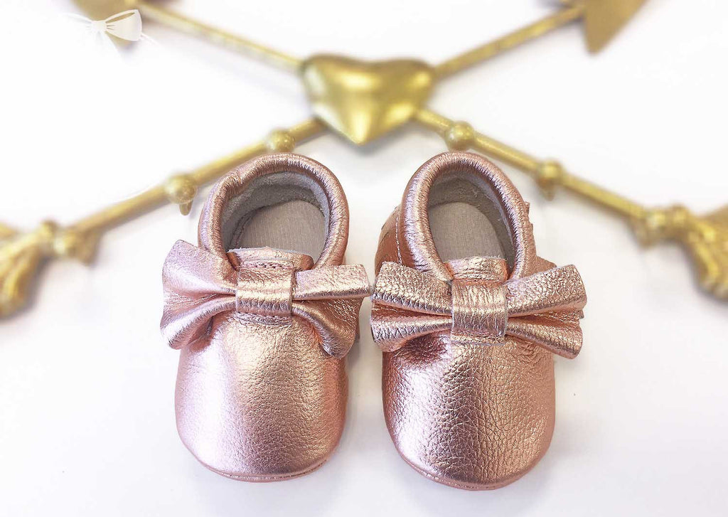 5c807cd522ad5 BLOWOUT: Rose Gold Baby Moccasins
