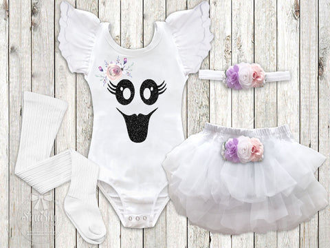 Girl's Boho Ghost Halloween Outfit