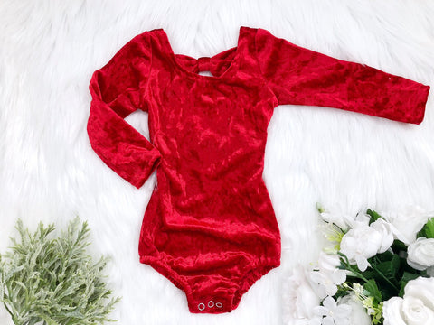 Red Velvet Long Sleeve Bow Back Flutter Sleeve Leotard