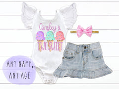 Girl's Personalized Two Sweet Ice Cream Outfit