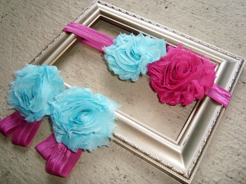 Aqua and Pink Piggy Petal & Headband Set