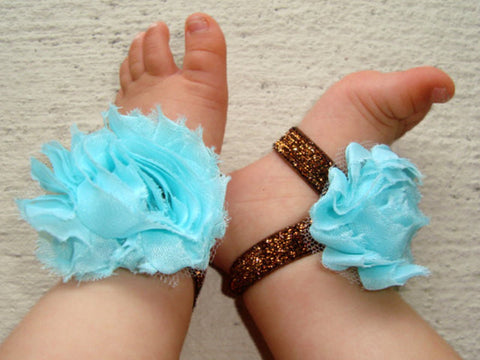 Aqua and Brown Sparkle Piggy Petals