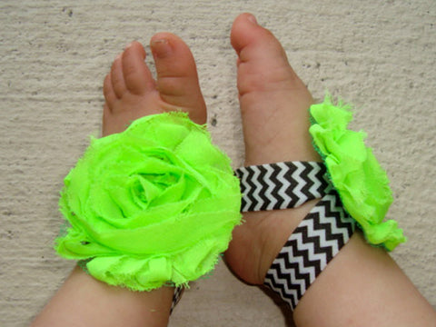 Neon Green Black Chevron Piggy Petals